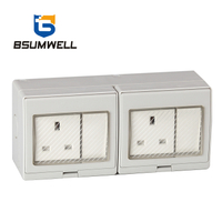 PS-2SS 13A British type IP55 Waterproof 2Gang Switch 2Gang Socket