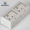 PS2-2SAS IP55 Waterproof ABS PC Plastic South Africa Type 16A 2Gang 2Way Switch 2Gang Socket