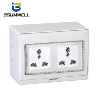 PS-2U Multi-function Type 10A IP55 Waterproof 2 Gang Socket