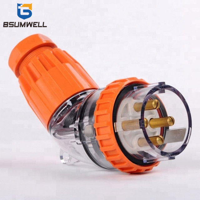 IP67 Australia Standard 56PA440 three phase 250V/500V 40A 4 round pin Waterproof Angled industrial plug with CE Approval