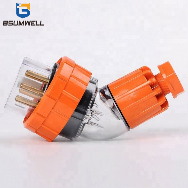 Australia Standard 56PA540 three phase 250V/500V 40A 3P+E+N 5 round pin Waterproof Angled industrial plug with CE Approval
