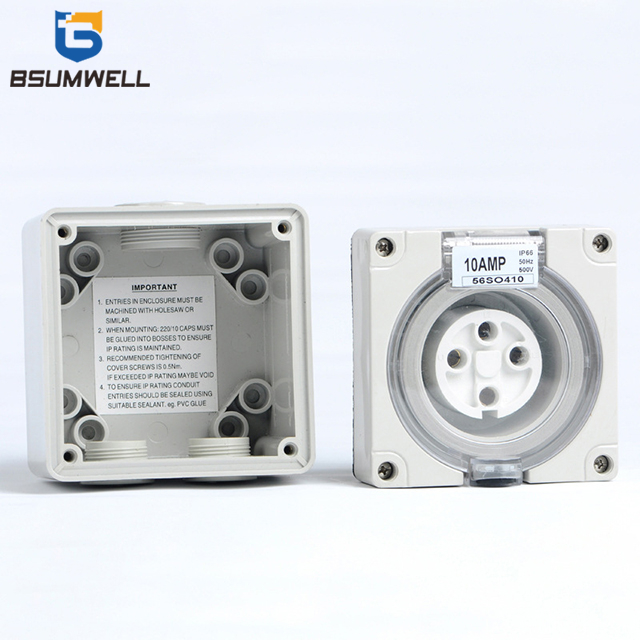 Australian Standard three phase 56SO432 New Design 500VAC 32A 4P IP67 Industrial Power Waterproof Electrical Cabinet Socket
